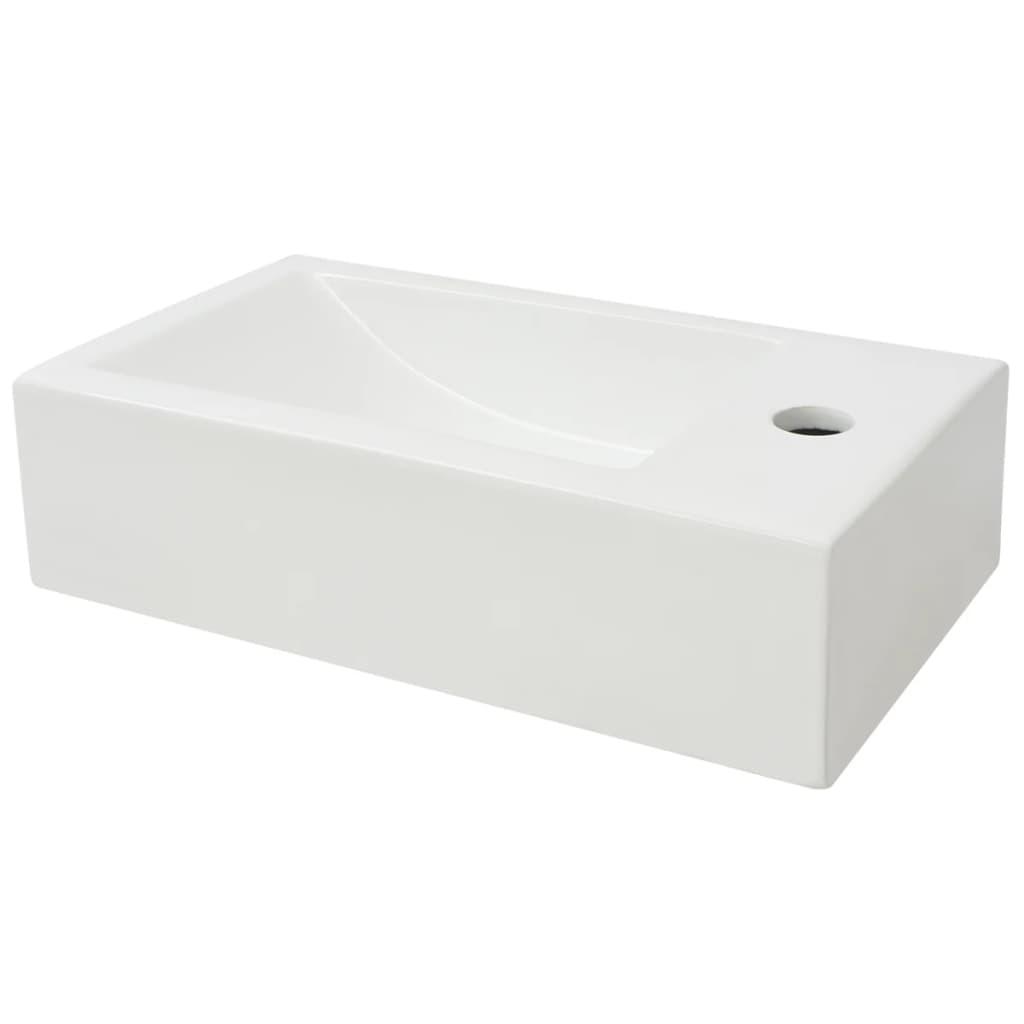 Trou de Robinet Céramique Blanc 46x25,5x12 cm Vasque à Poser vidaXL Vasque