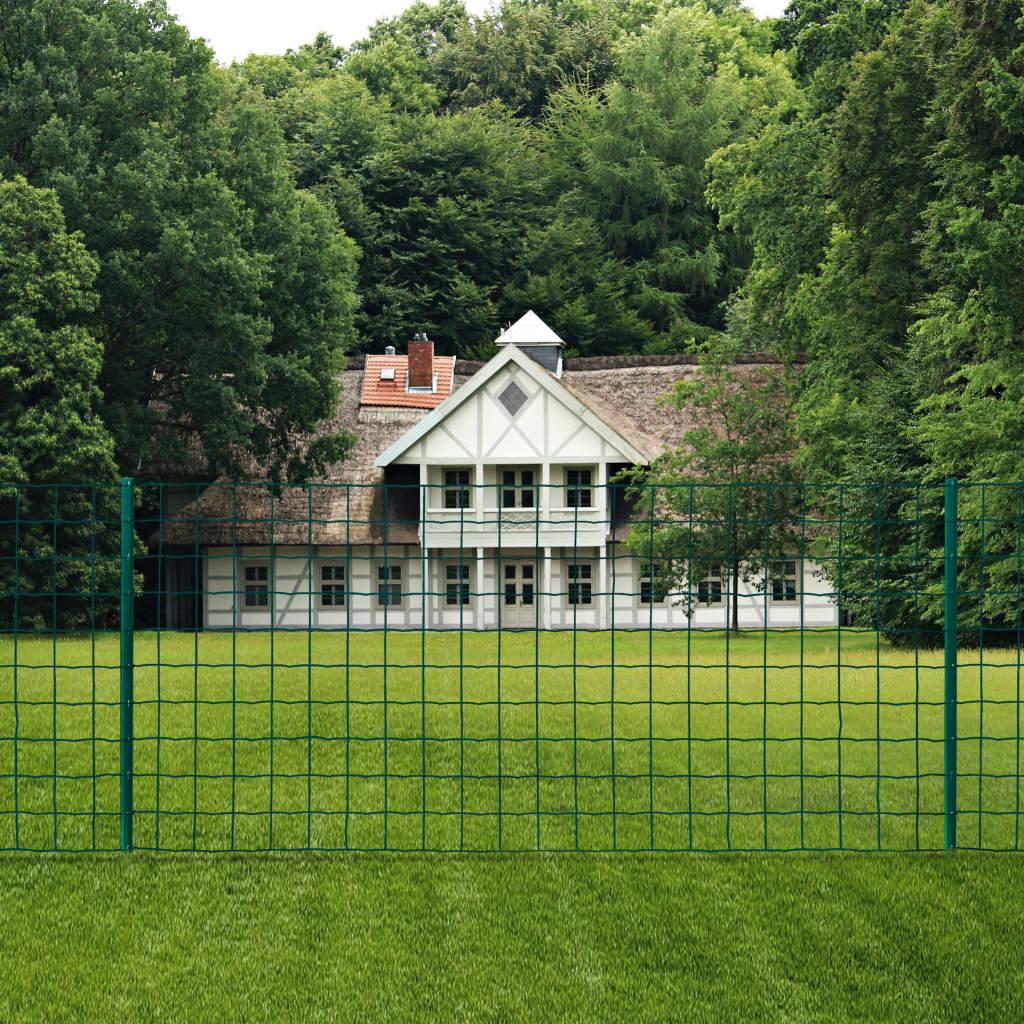 vidaXL Maschendrahtzaun Komplettset Stahl Grün Metallzaun Zaun mehrere Auswahl