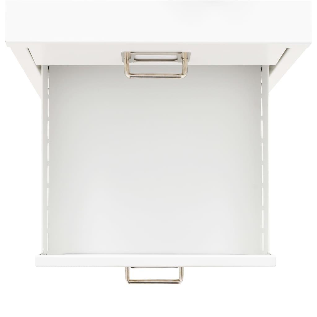 vidaXL Aktenschrank 5 Schubladen Metall Büroschrank Metallschrank Weiß/Schwarz