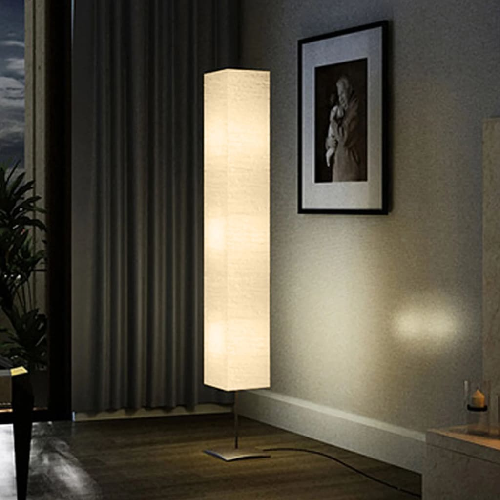 vidaXL Lámpara de Pie Moderna Pantalla de Papel Arroz Crema Luz Cálida 170 cm