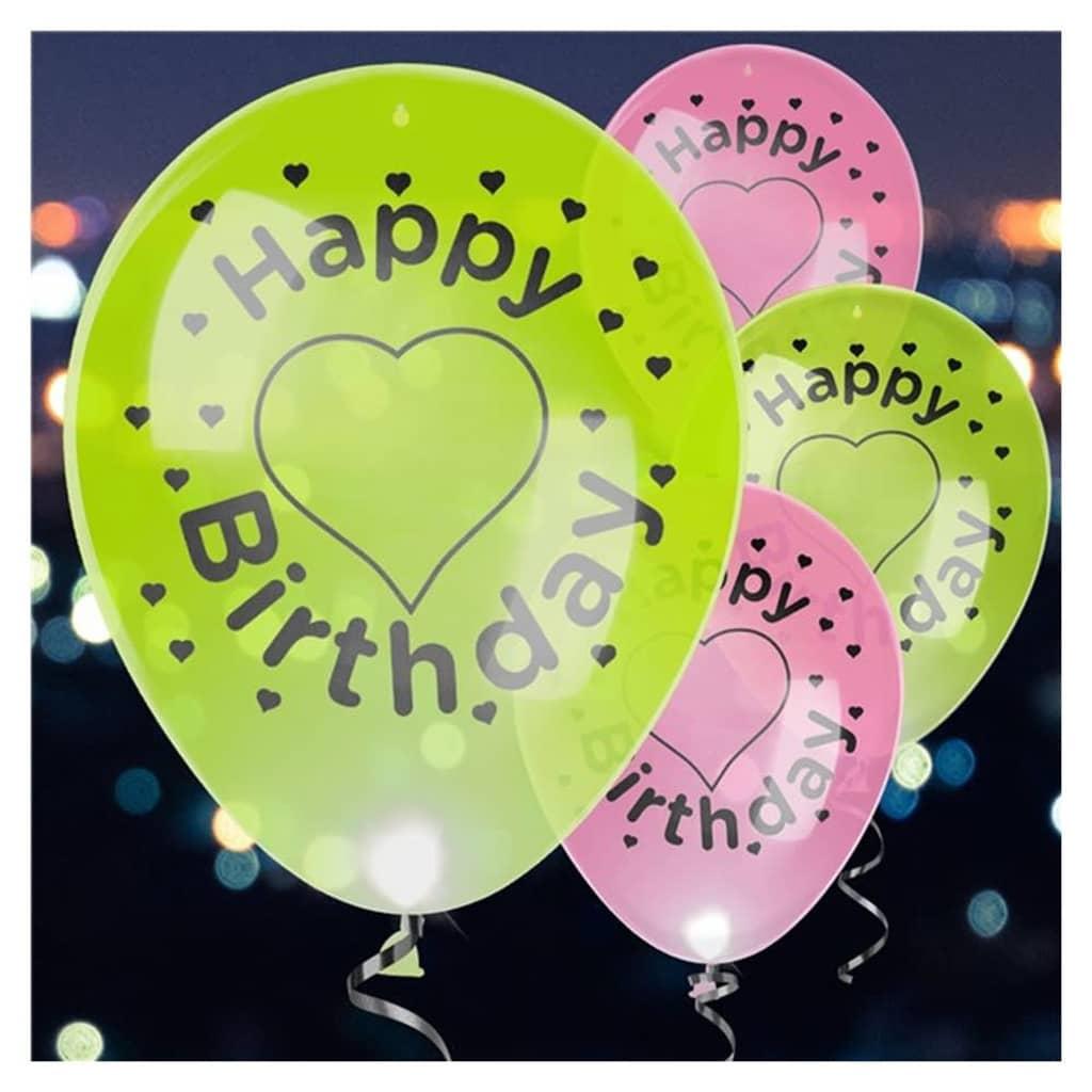 Afbeelding van Balloominate ballonnen met led verlichting Happy B'day 27,5 cm 4 st