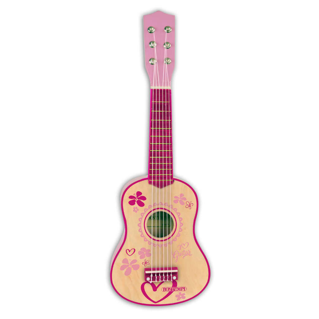 Bontempi houten gitaar met 6 snaren 55 cm roze