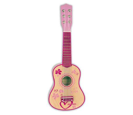 Bontempi Guitarra infantil de madera 6 cuerdas rosa 55 cm