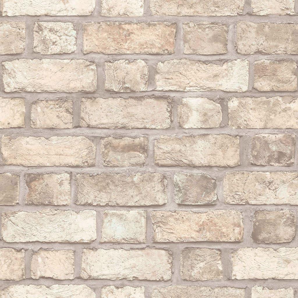 Homestyle Behang Brick Wall beige en grijs