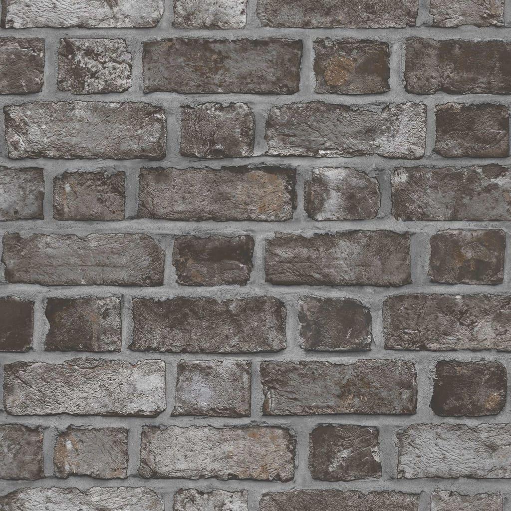 Homestyle Behang Brick Wall zwart en grijs