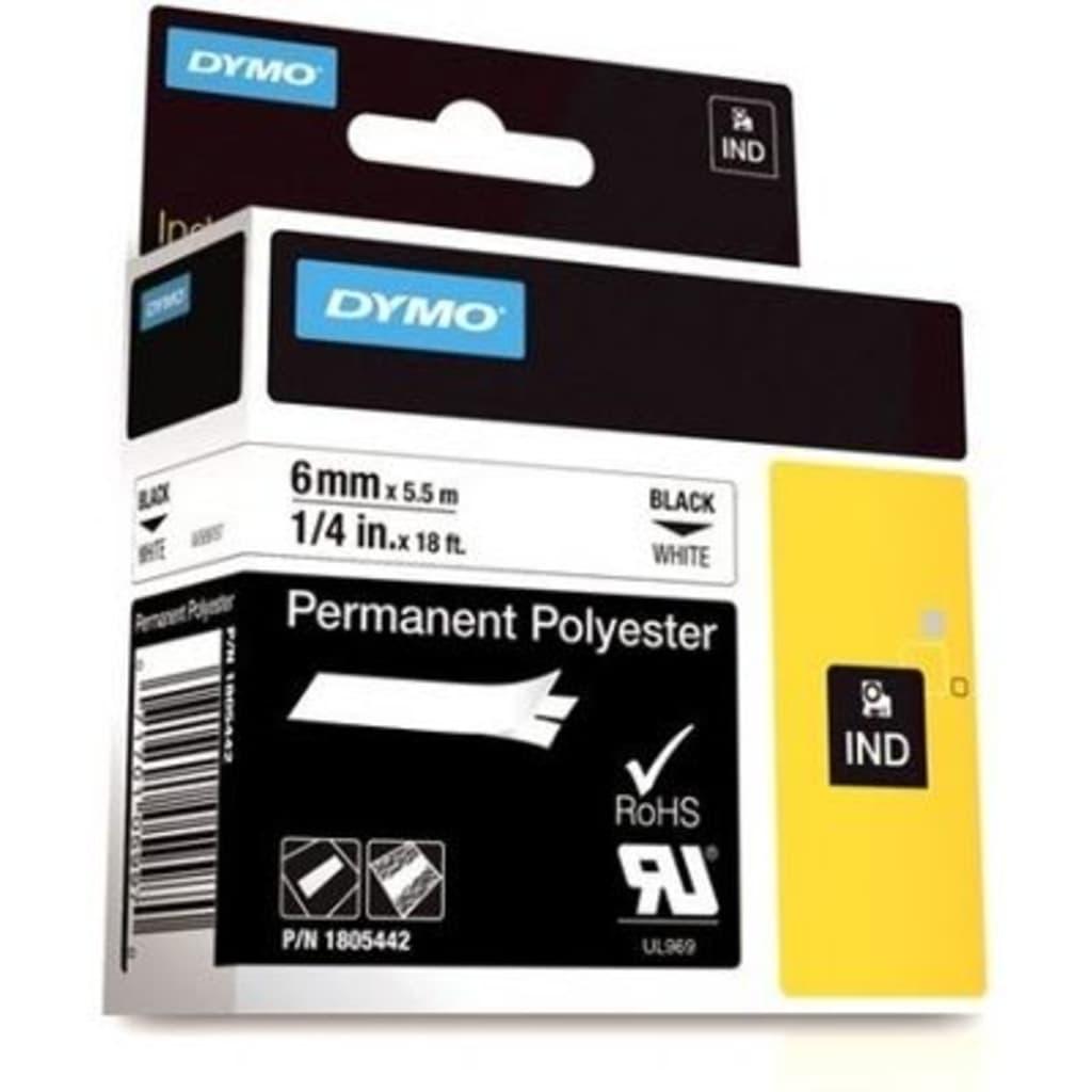 Afbeelding van DYMO 1805442 Tape Zwart op wit (6 mm)