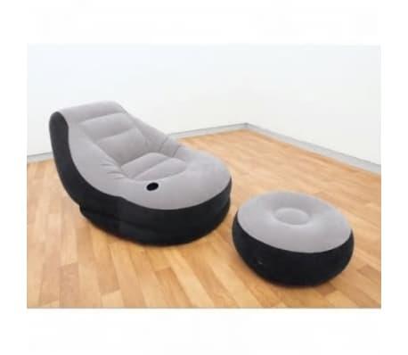 Ensemble fauteuil + pouf gonflable gris Ultra lounge Intex[1/1]