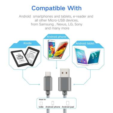 2 m Micro USB -kaapeli latausta ja tiedonsiirtoa varten - Musta[4/5]