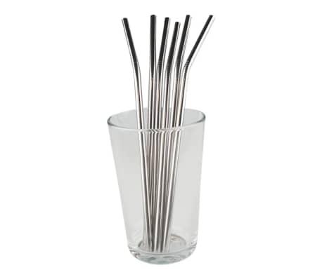 6x Bøyde Metallsugerør - Sølv