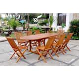 Le Sumbawa, salon en teck huilé 10/12 personnes : 1 table ovale et 8