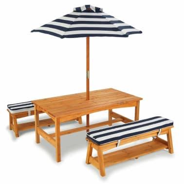 Kidkraft Jeu De Table Et Banc De Jardin Pour Enfants Bois Bleu 00106
