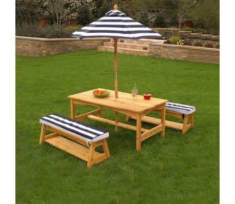 kidkraft gartentischset mit bank f r kinder marineblau holz 00106 g nstig kaufen. Black Bedroom Furniture Sets. Home Design Ideas