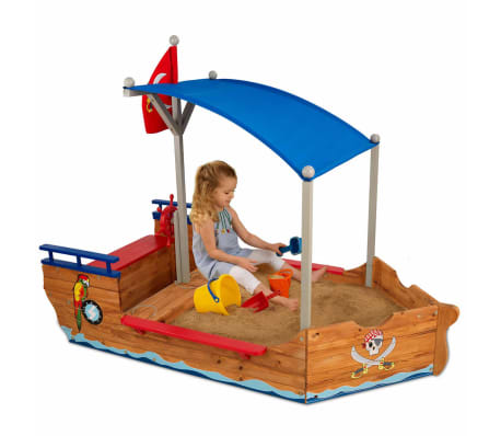 Kidkraft Bac à sable bateau de pirates extérieur avec auvent Bois 00128[2/7]