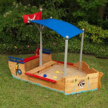 Kidkraft Bac à sable bateau de pirates extérieur avec auvent Bois 00128[3/7]