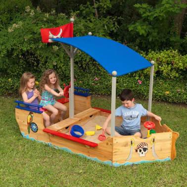 Kidkraft Bac à sable bateau de pirates extérieur avec auvent Bois 00128[7/7]
