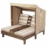 KidKraft Chaise longue double pour enfants Beige Bois 00534