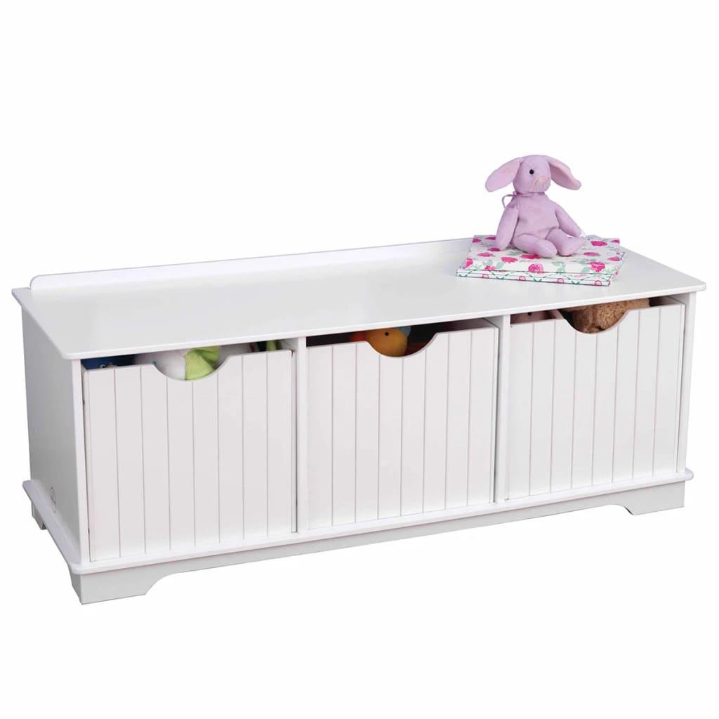 Afbeelding van KidKraft Kinder opslagbankje wit 96x39,6x38,7 cm 14564