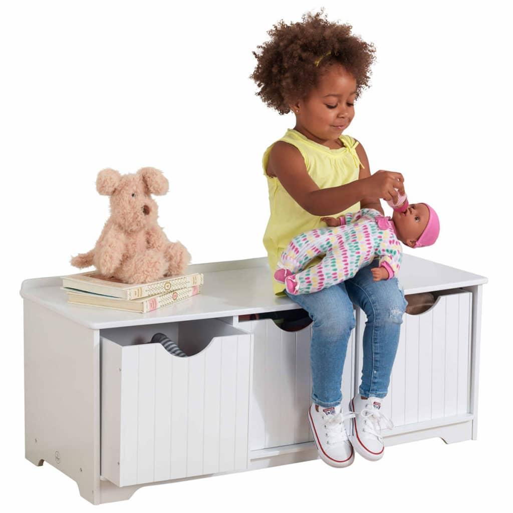 KidKraft Kinder opslagbankje wit 96x39,6x38,7 cm 14564