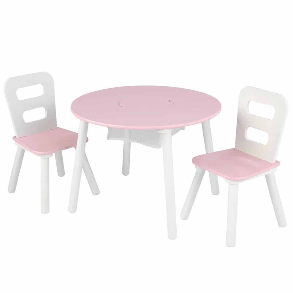 Afbeelding van KidKraft Kinderopbergtafel en stoelen set roze massief hout 26165