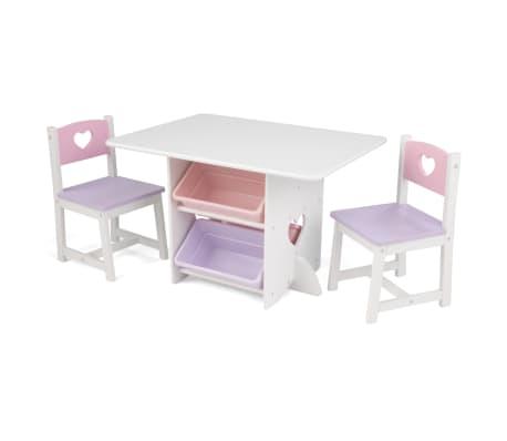 KidKraft Stalo ir 2 kėdžių rinkinys, su širdelėmis