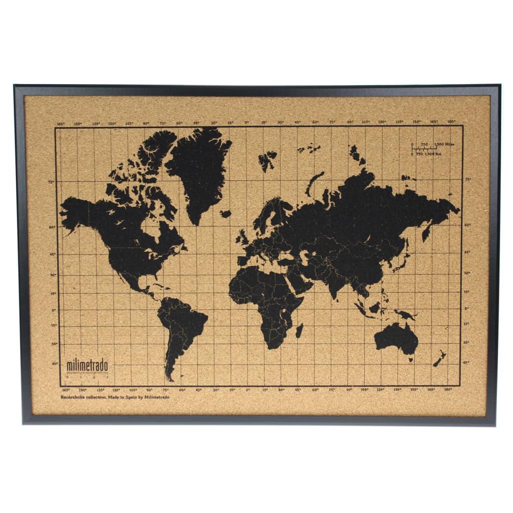 milimetrado verdenskort korkplade med træramme 70 x 50 cm sort brun