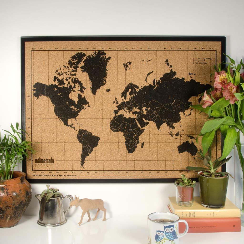 Milimetrado Wereldkaart prikbord houten frame 70x50 cm zwart en bruin