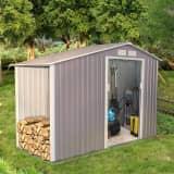 Abri de jardin 3.53 m² avec abri bûches en acier anti-corrosion