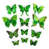 12 stk. gul dekorative 3D-Sommerfugler i papir til vegger