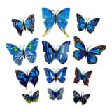 12 stk. blå dekorative 3D-Sommerfugler i papir til vegger