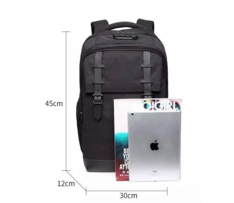 Stor Laptop Ryggsekk med 3-sifret Kodelås, USB-port - Grå[6/7]