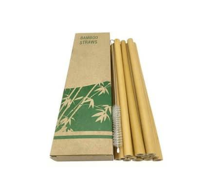 Sugerør i bambus, 12 stk - lys brun