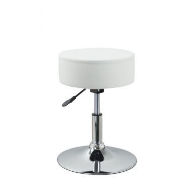 Tabouret Chaise Noir Hauteur Reglable Cuir Synthetique Blanc1 1