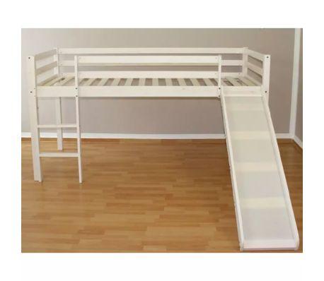 Lit mezzanine 90x200cm avec échelle toboggan en bois laqué blanc