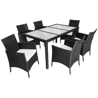 Salon de jardin 6 chaises rotin résine tressé synthétique noir + ...