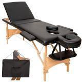 Table de massage noire 3 zones avec sac de transport