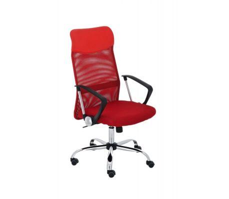 Fauteuil chaise de bureau en maille rouge avec 5 roulettes[1/1]