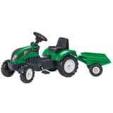 FALK Tracteur à chevaucher à pédale avec remorque Case Vert