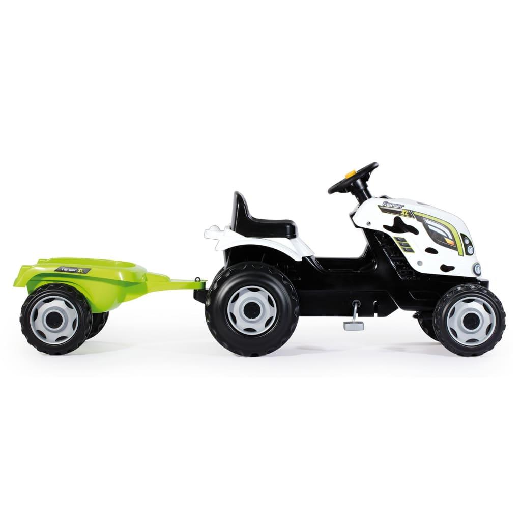 Smoby Kindertractor en aanhanger Farmer XL wit en zwart
