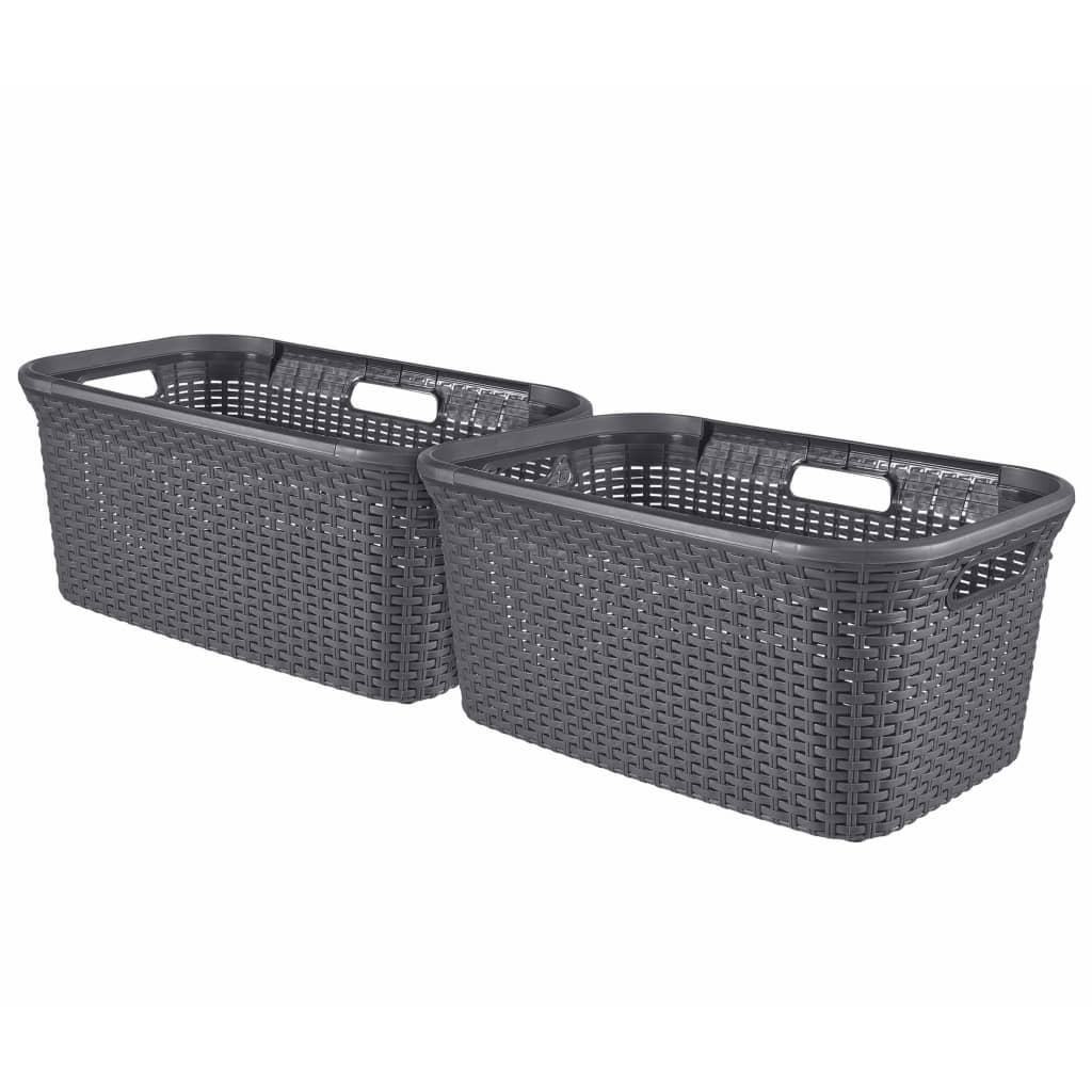 Curver Koszyk na pranie Style, zestaw 2 szt., 45 L, antracytowy