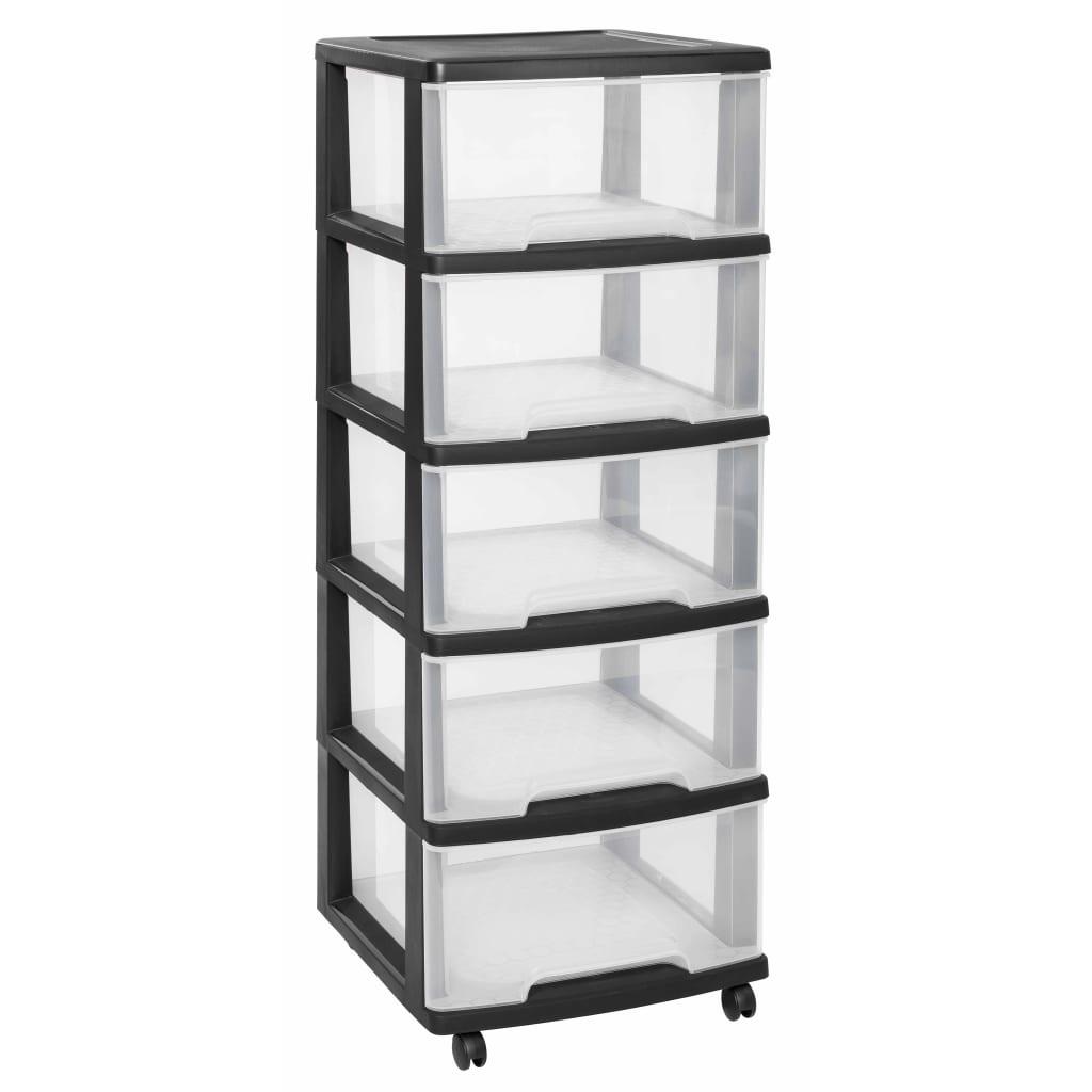 Curver Dulap cu sertare Essentials, 100 L, transparent și negru poza vidaxl.ro