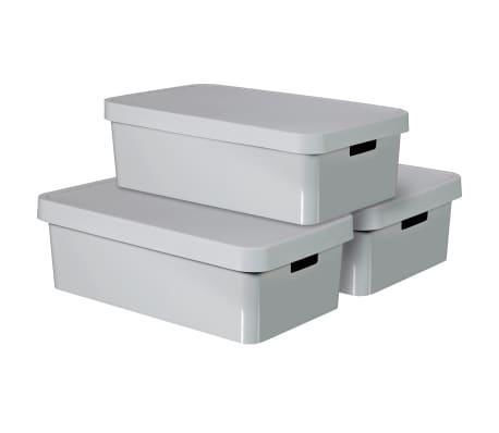 Curver Úložné boxy s poklopmi 3 ks 30 l sivé 240681 Infinity