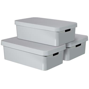 Curver Cajas de almacenaje Infinity 3 unidades 30 L gris 240681[2/2]