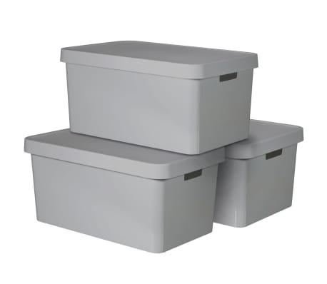 Curver Úložné boxy s poklopmi 3 ks 45 l sivé 240659 Infinity