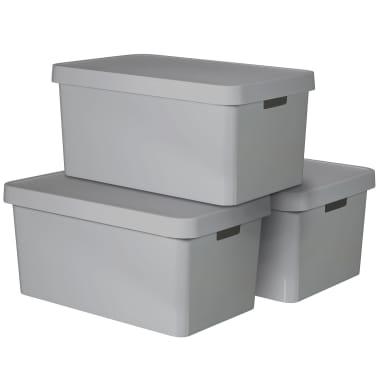 Curver Caja de almacenaje Infinity 3 unidades 45 L gris 240659[1/2]