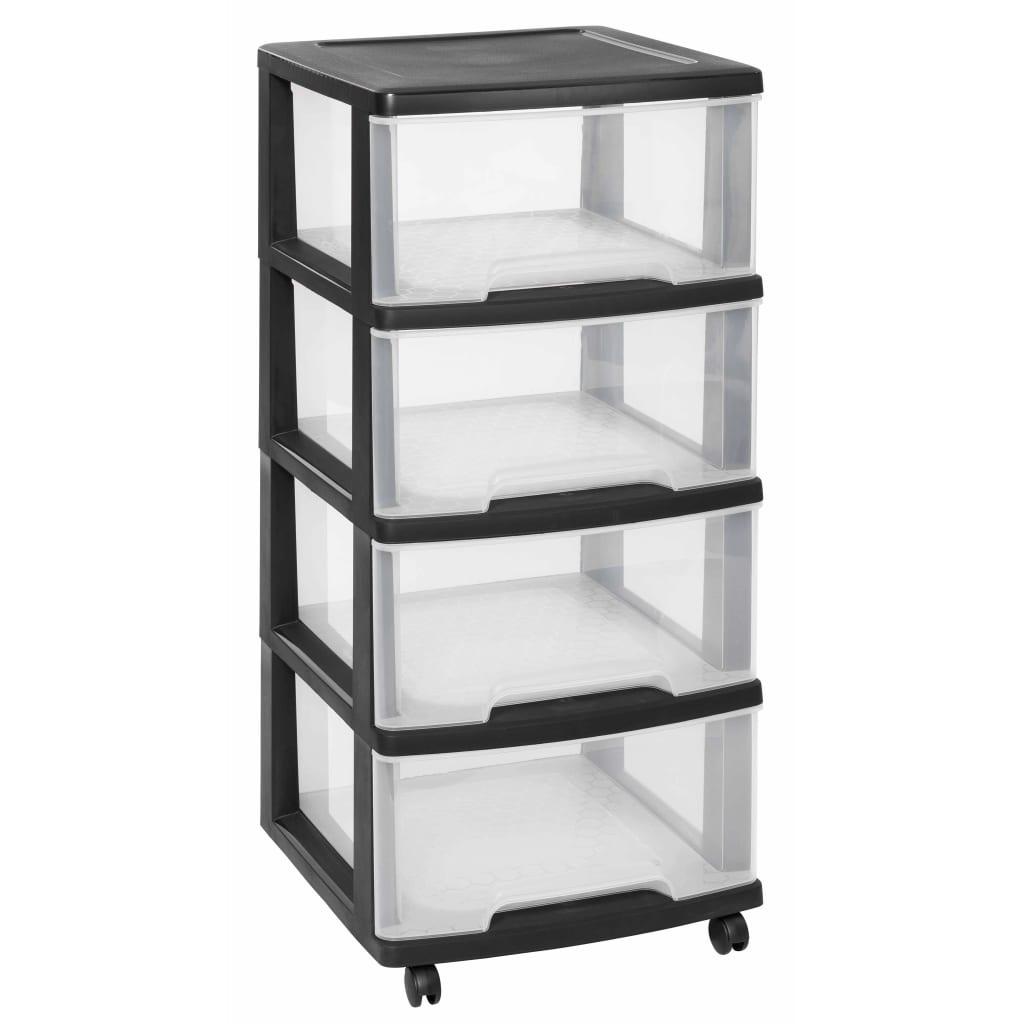 Curver Dulap cu sertare Essentials, 80L, transparent și negru poza vidaxl.ro