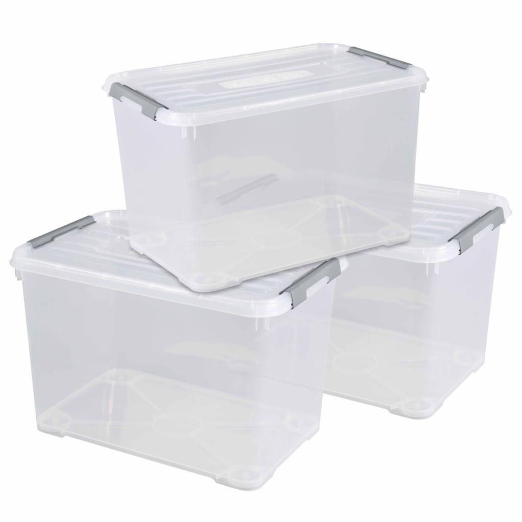 Curver Set cutii depozitare Handy+, 3 buc., cu capac, transparent 35 L vidaxl.ro