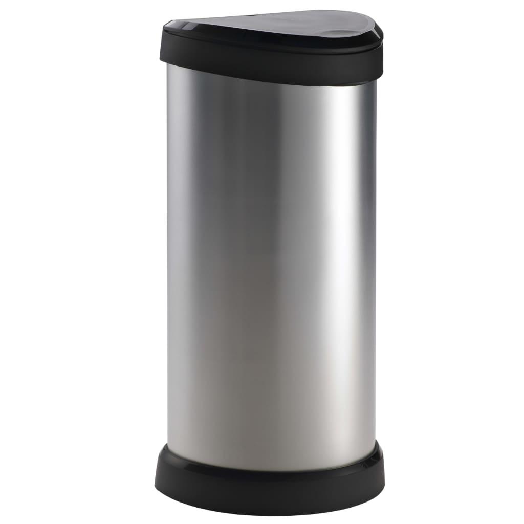 Curver Ladă de gunoi Deco argintiu 40 L capac tactil 240641 vidaxl.ro