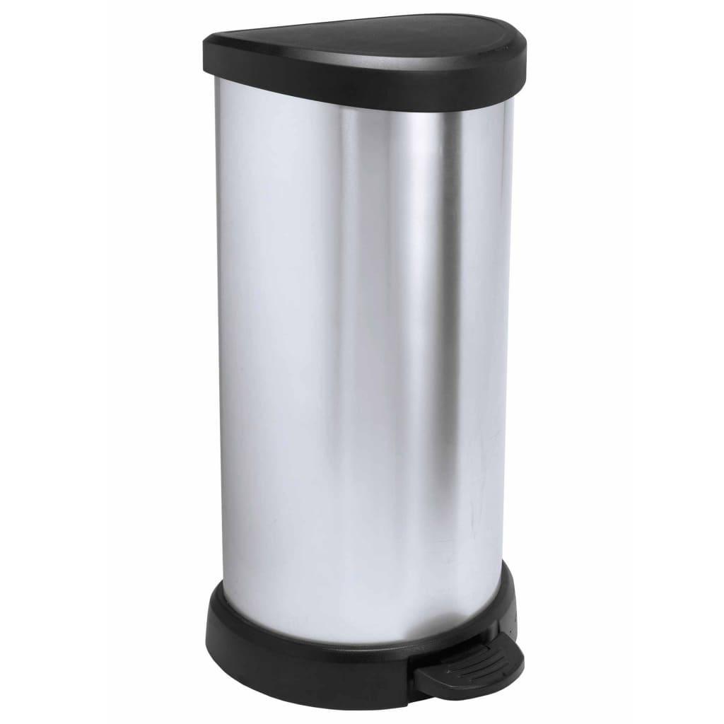 Curver Ladă de gunoi cu pedală Deco argintiu 40 L 240637 vidaxl.ro