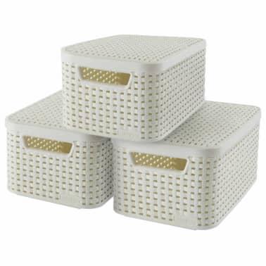 Curver Cajas de almacenaje con tapa Style 3 unidades S blanco 240586[1/2]