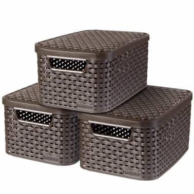 Curver Cajas de almacenaje con tapa Style 3 unidades S marrón 240646[1/2]